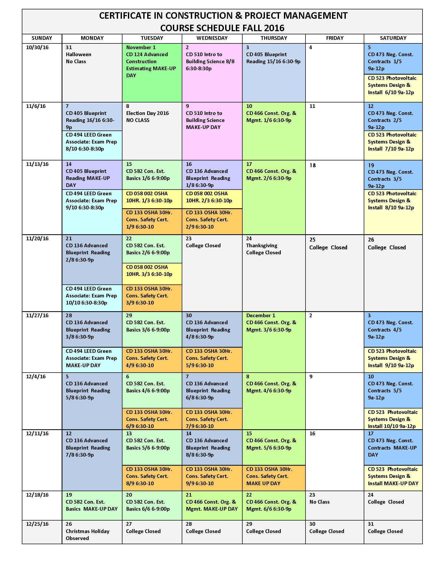 Bergen Community College Fall Course Calendar Certificate In
