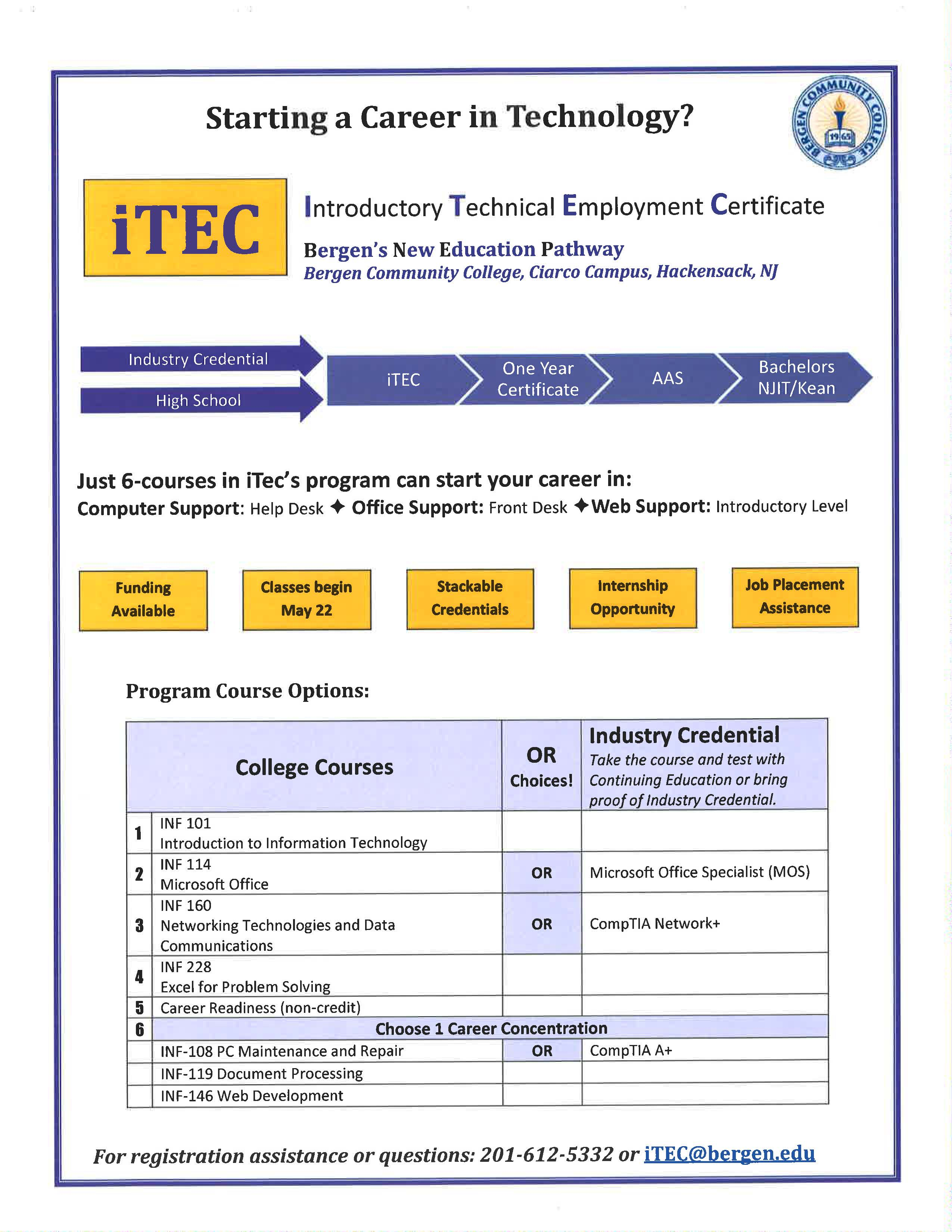Bergen community college itec program see the following chart and the course information details below it 1betcityfo Images