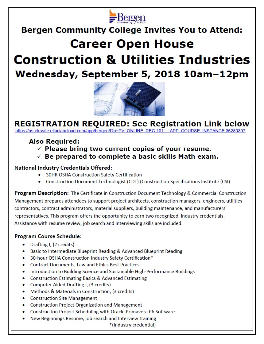 Bergen Community College Construction And Utilities Careers Open House