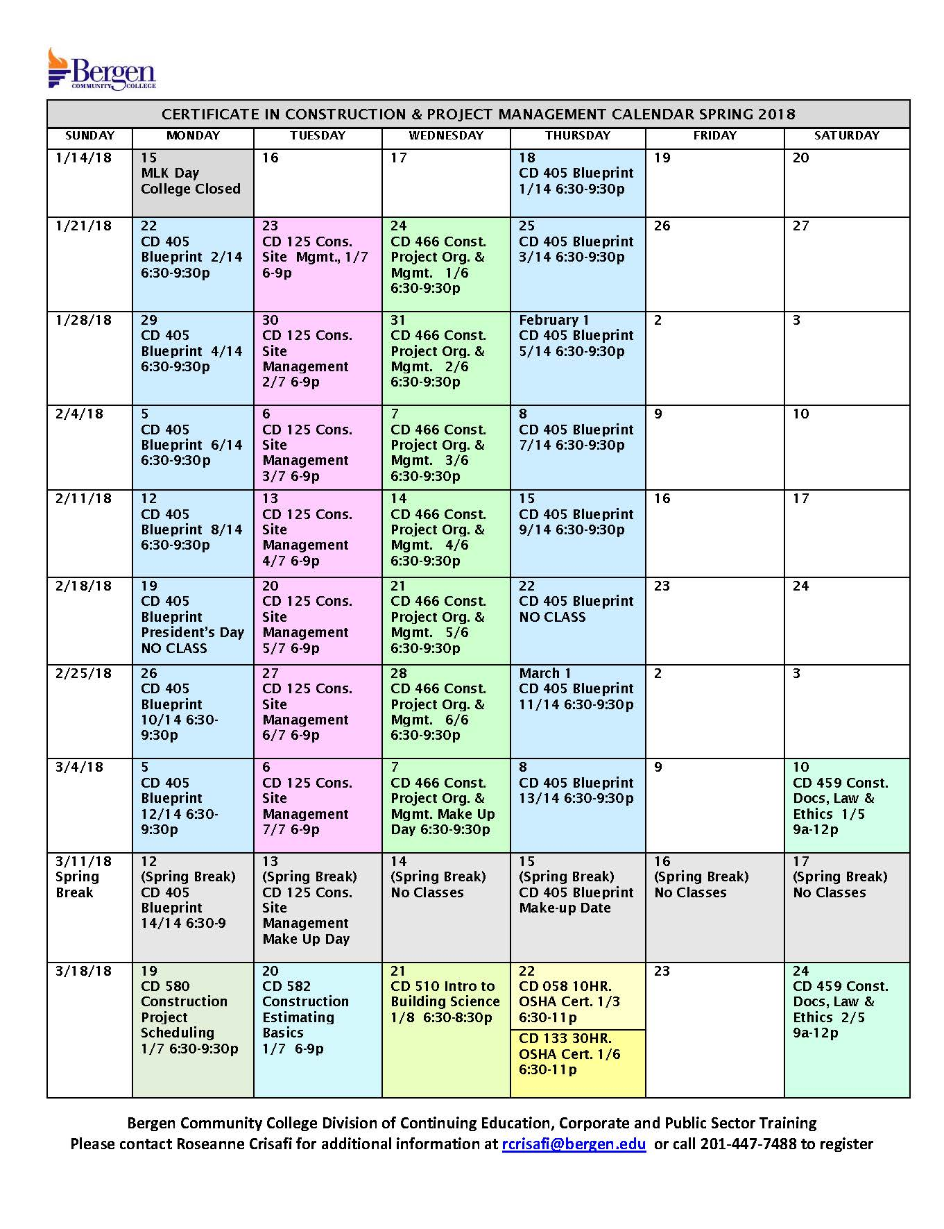 Bergen Community College Course Calendar Certificate In